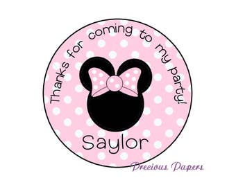 Personalized Pink Polka Dot Minnie Mouse Birthday Stickers Minnie Party Favors Round Labels