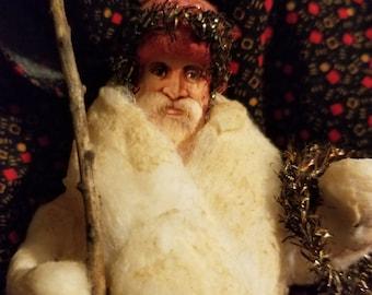 Spun cotton Santa ornament
