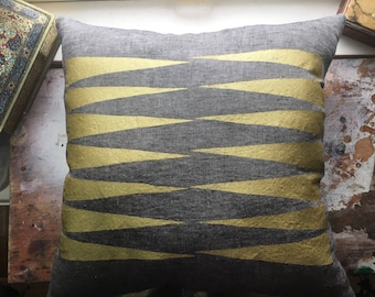READY TO SHIP - Comet Tail - Hand Printed Linen and Canvas Throw Pillow - Cover - Geometric Pattern Design - Gold Shimmer Lustre Ink