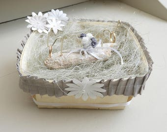 Ring bearer for wedding style country basket lace, drift wood, sisal