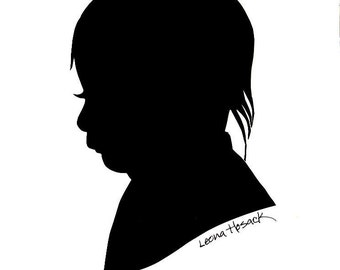 Silhouette of your Child/Holiday Gift/ Keepsake/Unique