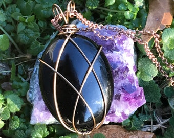Black Onyx Wire Wrapped Necklace, Crystal Necklace, Metaphysical, Simple Wrap