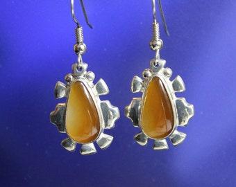 Carnelian Teardrop Earrings Sterling Silver Handcrafted