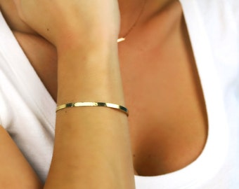 Gold Cuff Bracelet, Thin 14K Gold Hammered  or Not Hammered Bracelet, 14K Yellow, White, or Rose Gold