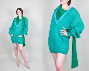 1980's Italian Mohair Asymmetrical Scarf Sweater Dress with Pockets 80's avant garde