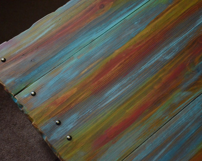FREE UK SHIPPING Rustic Reclaimed Wood Coffee Table Multi Coloured Old Boat Wood Style Finish & Undershelf Storage 84 cm  x 55 cm  x 35 cm