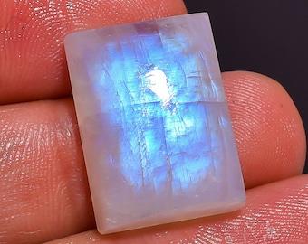 Gorgeous - Blue  moonstone, Natural Rainbow moonstone cabochon, Rainbow moonstone Loose Gemstone, 23.1Crt,Size 19X14X8MM,MI-1609
