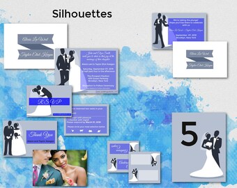 Silhouettes/Wedding Invitation Suite/Wedding Invitation Set/Personalized Wedding Invitation Set/Unusual/Modern Wedding