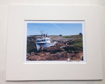 Maine Photo Art - The Finely Finished - Lobster Boat on Maine Island - Original Photo - 8x10 Mat