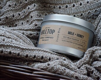 Milk + Honey - Tin Candle - Hand Poured Soy Candle