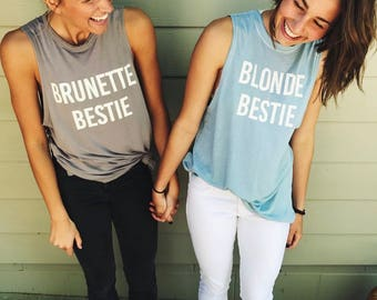 Brunette & Blonde or Redhead Bestie Bella Canvas graphic tank tops (sold together) - BFF shirts - Best Friend Tshirts