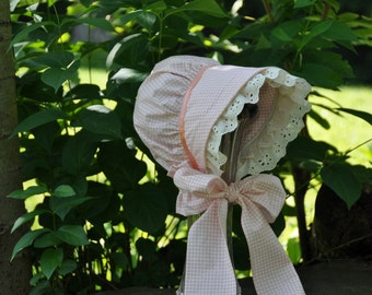 Peaches and Cream Sun Bonnet, Baby Bonnet, Cotton bonnet with ivory eyelet trim