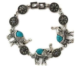 Elephant Bracelet, Vintage Link Bracelet, Rhinestone Pinwheel Bracelet, Green Beaded Elephants Bracelet, Indian Elephant Charm Bracelet