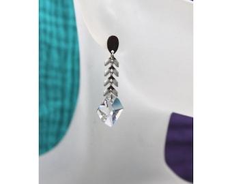 Cosmic Swarovski Element Crystal 14mm stainless steel earrings