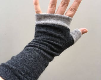 Hand made Cashmere upcycled wrist warmers grey