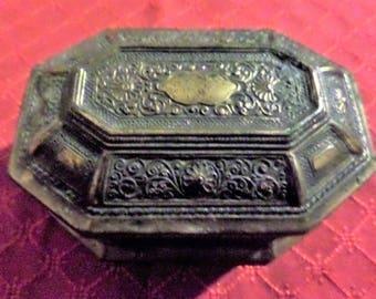 1900's Ornate Casket Trinket/Jewelry Box.  Marked JB.