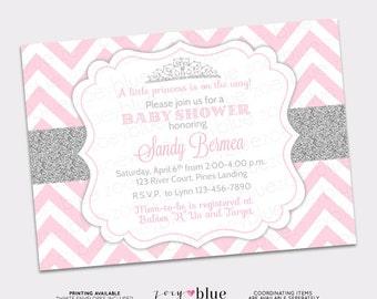 Princess Baby Shower Invitation Pink Silver Chevron Little Princess Invitation Girl Baby Shower Invite - Printable Digital File