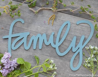 Family Typography Word Cutout | MDF word sign | Typography | Start at Home Decor