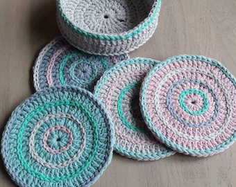 Crochet coasters set of 4 with case.