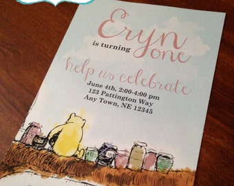 Antique Winnie the Pooh Birthday Invitation