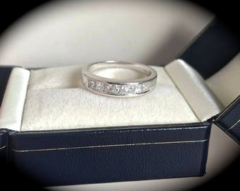 0.75ct  Diamond Ring  9K White Gold Ring Size P 1/2 (US 8) 'CERTIFIED G-H' - Beautiful Diamonds!