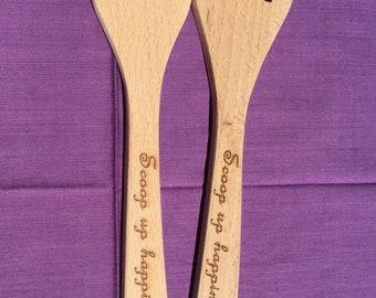 Salad fork wooden serving set