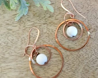 Copper Dangle Hoops
