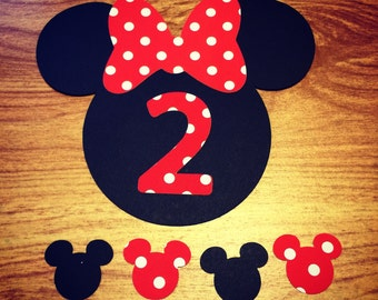 Minnie Mouse Cut Outs with Bows & Birthday Number -AGE 2 (Various Sizes and Colors Available)