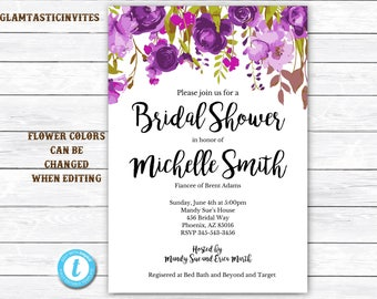 Floral Bridal Shower Template, Bridal Shower Invitation Template, INSTANT DOWNLOAD, DIY Invitation, Floral Invitation, Bridal Shower Invite
