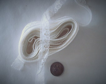 """Lace Trim Off White 5/8"""" Wide 7 1/2 Yards Baby Doll."""