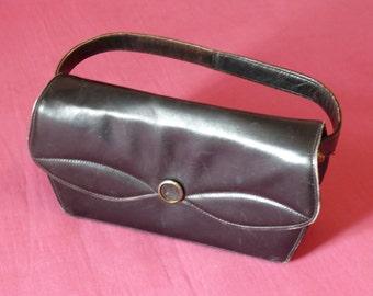 HAND former black leather bag