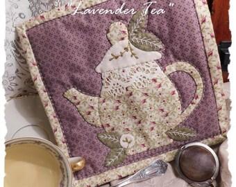 Lavender Tea - An Applique Teapot Mug Rug or Teapot Mat Pattern - An Instant Download by Diane Knott LLC for cotton or wool applique - EASY