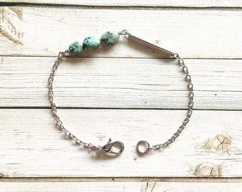 Turquoise And Tube Bracelet | Turquoise Bracelet | Boho Bracelet | Tube Bracelet | Gemstone Bracelet | Turquoise Bracelets | Turquoise