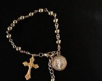 Gold metal single decade rosary bracelet