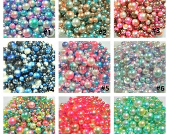 NO HOLE Beads Round Diy Slime Filler Vase Decorative Fish Bowl Filler 4mm 6mm 8mm 10mm 25 Grams 200 - 250 Pieces