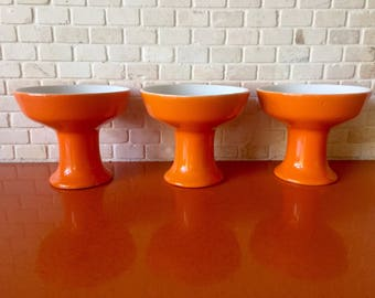 Vintage Paul McCobb Contempri Sherbert Ice Cream Fruit Dessert Dishes Tangerine Orange Set of 3