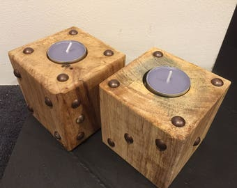 Dice tea light holders