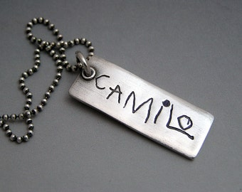 Your Actual Loved One's Hand Writing Made into a Fine Silver Pendant Necklace