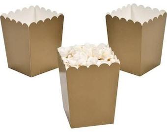 6/  Paper Mini Gold Popcorn Boxes/ favor boxes / treat boxes