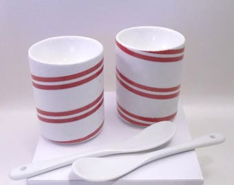 Christmas red and white porcelain egg cups