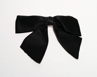 Vintage Chanel Black Satin Hair Bow with attached barrette - 1980s