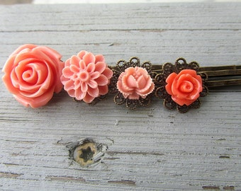 Coral fever - Coral big rose, salmon dahlia, pink rosebud, coral little rose bobby pin 4pcs chose your own