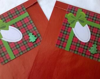 2 red Christmas gift bags, gift tag Plaid Green Ribbon