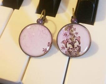 Earrings: pretty butterflies and purple
