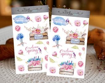 Sticker set Spring, spring, blossoms, flower, planner
