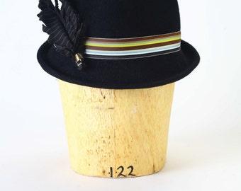 Black fur felt fedora winter men's hat, striped grosgrain ribbon, cotton handmade striped feather, brass quill detail Millinery/Men Fedora