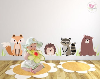 Woodland Animal Decals, Forest Critters Wall Stickers, Gender Neutral Nursery, Fox and Bear, Raccoon and Hedgehog, Kids Creature Decor