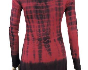 Burgundy Black Hand Tie Dye Women Shark Bite Lace Shirt V-neck Long Sleeves by Sugar Rock