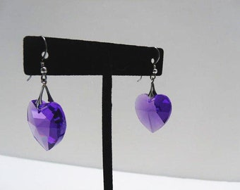 Purple Crystal Heart Earrings With Sterling Wires And Pendant Hook