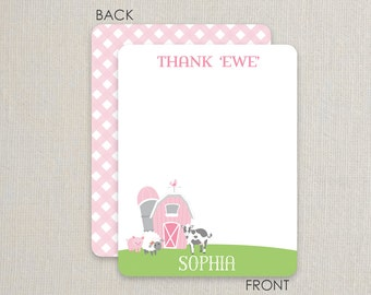 Farm Thank you Notes - Flat Notecards Stationery with 2-sided printing - pink and green